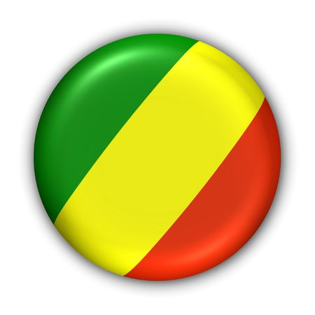 World Flag Button Series - Africa - Congo Republic (With Clipping Path)