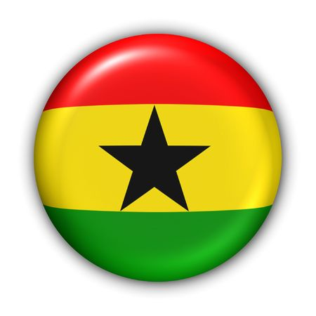 World Flag Button Series - Africa - Ghana (With Clipping Path)
