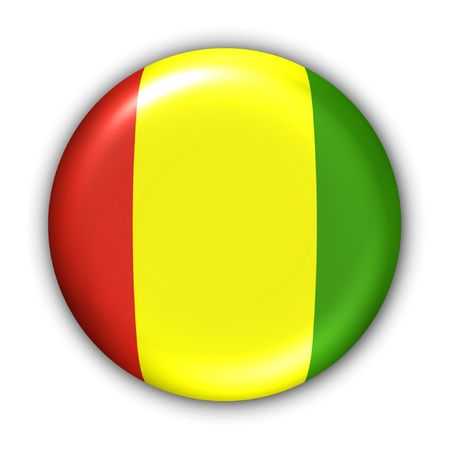 World Flag Button Series - Africa - Guinea (With Clipping Path)