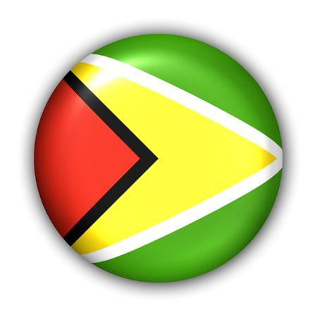 guyan: World Flag Button Series - South America - Guyana (With Clipping Path)