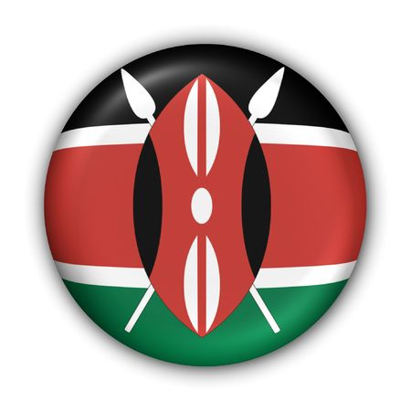 nairobi: World Flag Button Series - Africa - Kenya (With Clipping Path) Stock Photo