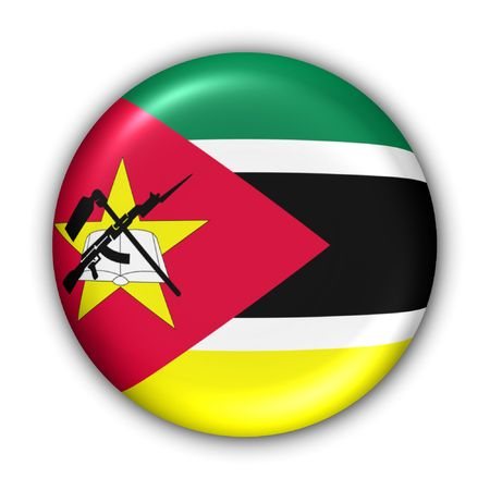World Flag Button Series - Africa - Mozambique (With Clipping Path) Stock Photo - 373903