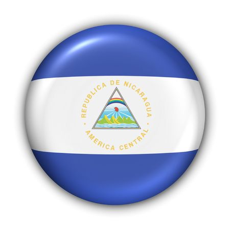 Nicaragua: World Flag Button Series - Central AmericaCaribbean - Nicaragua (With Clipping Path)
