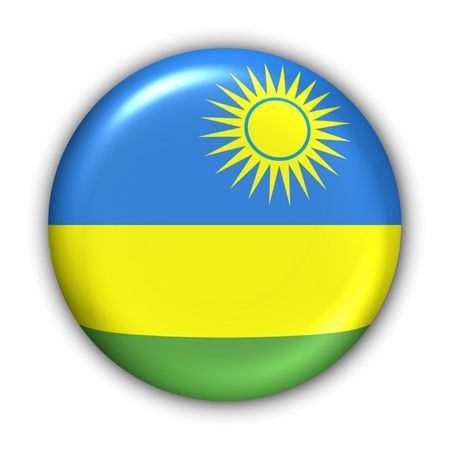 kigali: World Flag Button Series - Africa - Rwanda (With Clipping Path) Stock Photo