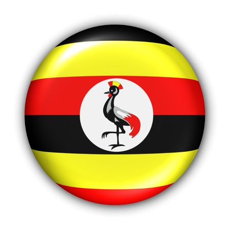 World Flag Button Series - Africa - Uganda (With Clipping Path)