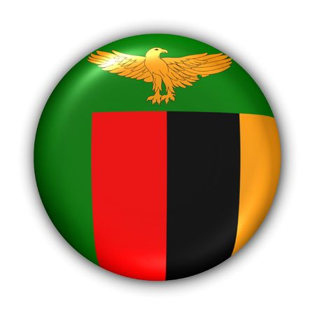 World Flag Button Series - Africa - Zambia (With Clipping Path)