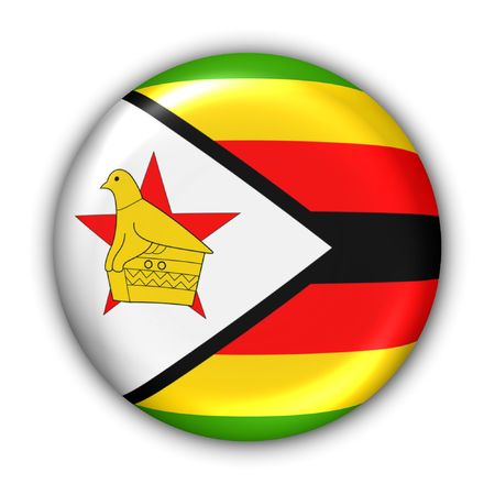 World Flag Button Series - Africa - Zimbabwe (With Clipping Path)