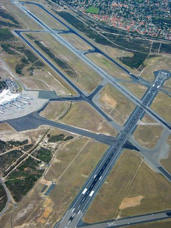 jets: Aerial view of runway on major airport