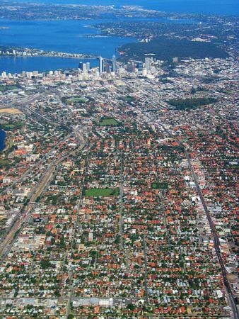 An aerial view of Perth City, Australia