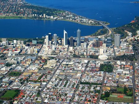 An aerial view of Perth City 4 Banque d'images