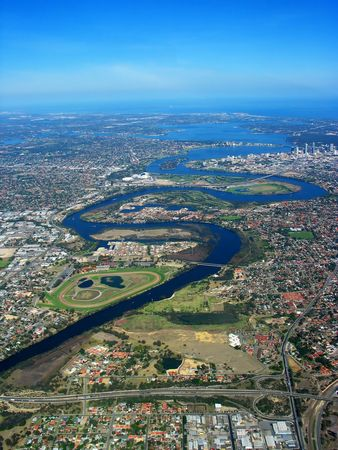 An aerial view of Swan River Stock Photo - 373860