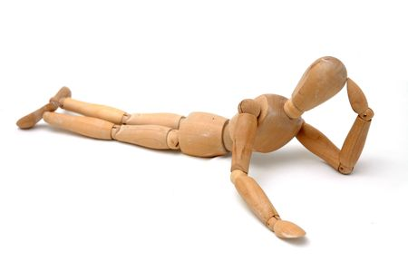 sideway: Figurine Pose - Lying sideway with hand support Stock Photo