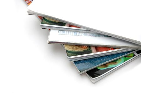 Closeup of magazine stack together (Shallow DOF) Stock Photo