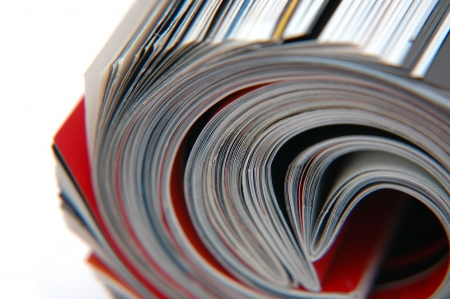 shallow: Closeup of magazine roll together (Shallow DOF)