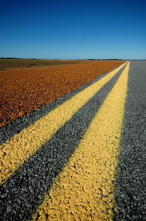 no boundaries: Double Yellow Lines on Roadside