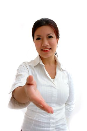 courteous: Offering a handshake Stock Photo
