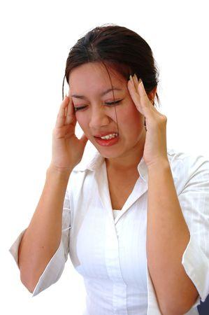 dolor de cabeza: Trabajador con dolor de cabeza