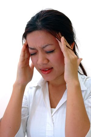 irritate: Worker with headache