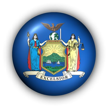 albany: USA States Flag Button Series - New York Stock Photo