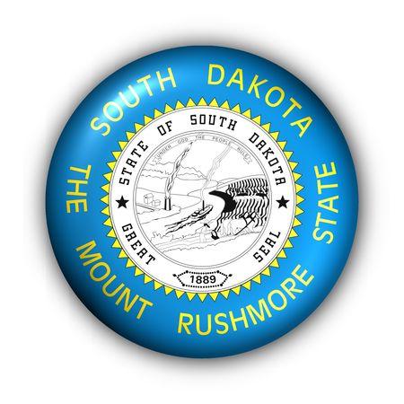 dakota: USA States Flag Button Series - South Dakota