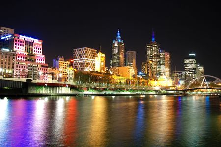 A night shot of the Melbourne City Skyline over the river