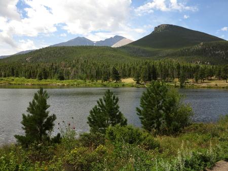 longs peak: Lily Lake and Longs Peak, Colorado Stock Photo