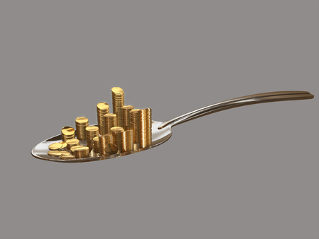 gold and silver coins: Gold coins on a silver spoon.3D rendering