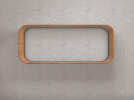 xwhite: Modern style shelf made of wood on wall,3d rendering, Stock Photo