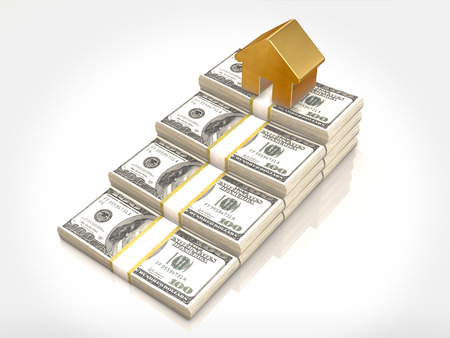 gold house: Money stacks and gold house symbol.3D rendering