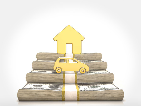 gold house: Money stacks and gold house and car symbol.3D rendering Stock Photo