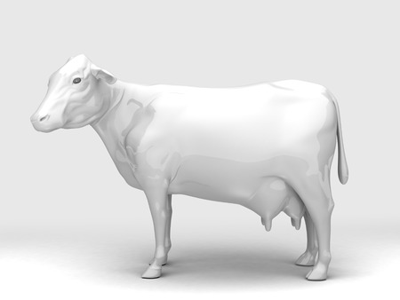 one animal: Side View Ceramic Cow.3D rendering