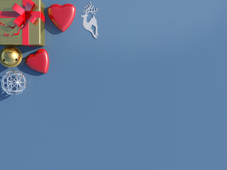 minimal: Top view of decorations Christmas background.3D rendering.
