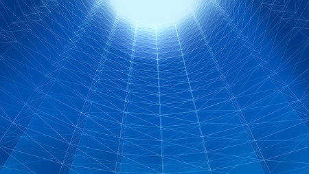 Abstract futuristic polygonal space low poly deep blue background with connecting lines. Tube structure.3d rendering Stock Photo