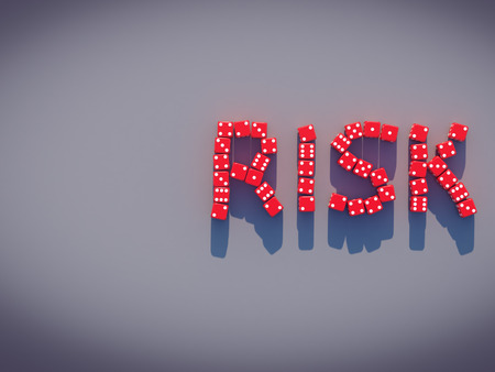 symbol. punctuation: Dice spelling the word risk.3D rendering
