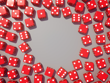 goodluck: Red dice view from above on glossy background.3D rendering