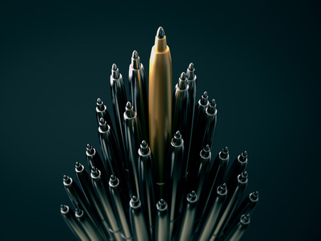 distinct: Gold pen standing out from chrome pens,standing out of the crowd concept.3d rendering