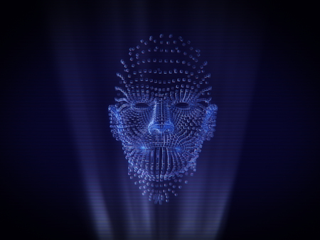 nasal: Human face Hologram Wireframe Style.3D rendering