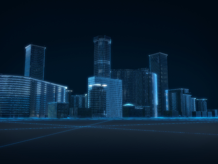 futuristic city: 3D render of city x-ray blue transparent on dark background.