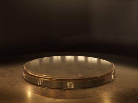 Golden Pedestal for display,Platform for design,Blank product stand.3D rendering.