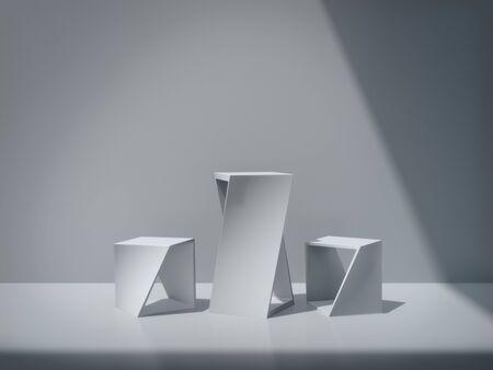 White pedestal for display,Platform for design,Blank product stand,clean background.3D rendering Imagens