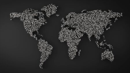 World map made by metal boxes. Abstract World map.3D rendering Imagens