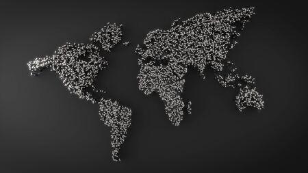Carte du monde faite de boîtes métalliques. Monde abstrait map.3D rendu Banque d'images