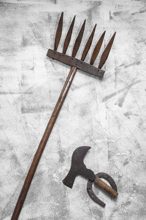 threshing: agricultural tools Stock Photo