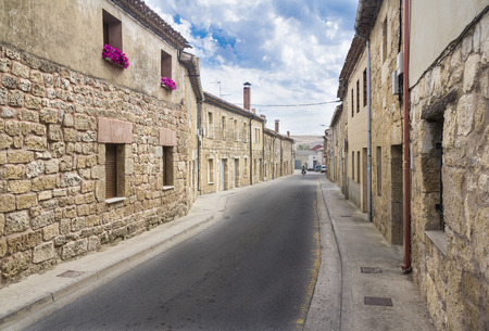 spanish village: a street of an ancient Spanish village - Hornillos del Camino Stock Photo