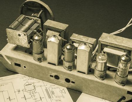 radio unit: ancient superheterodyne radio receiver with tubes