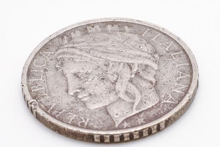 An old italian lira coin macro shot