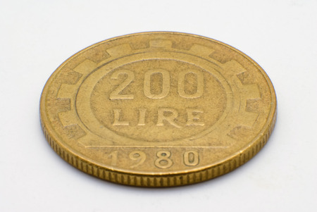 Macro shot of a 200 Lire Italian coin.