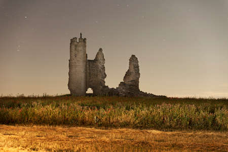 ruined castle at night Stock Photo