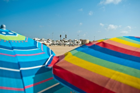 Parasols in the sun, Spain Stock Photo