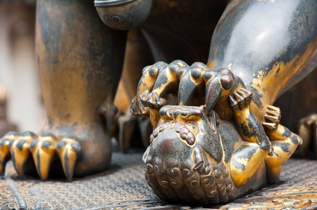 Detail of a statue of a lioness, Beijing, China photo